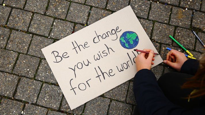 Demo-Plakat mit der Aufschrift: be the change you wish for the world